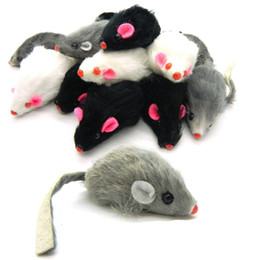 Wholesale Fur Mice - Free shipping real rabbit fur mouse for cat toys mouse with sound high quality 100pcs lot