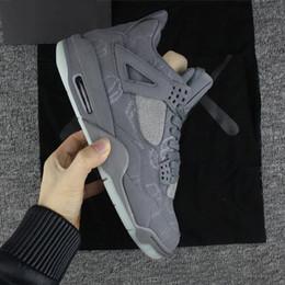 Wholesale best low cut basketball shoes - 2018 KAWS x 4 XX Kaws Cool Grey White black Glow Basketball Shoes Mens Best Quality White Blue black sports sneakers