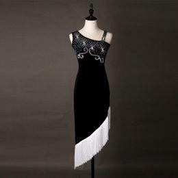 Wholesale Competitions Free - Adult Girl Latin Dance Dress Salsa Tango Chacha Ballroom Competition Dance dress Black+White Velvet Rhinestone Tassel Dress Free Custom