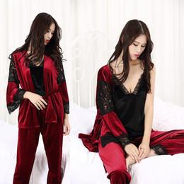 4b652d5b2c Winter Autumn Women Pajamas of 3 Piece Set Sexy Bathrobe Pleuche Lace  Sleepwear Ladies Soft Homewear High Quality Woman Sleepwear