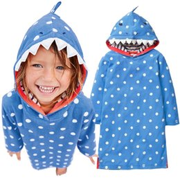 Wholesale formal hoodie - Baby Girl Dress Shark Costumes Children One-Piece Dresses Hooded Girls Blouse Clothing White Dot Hoodies Kids Outfit 2 4 6 8 10Y