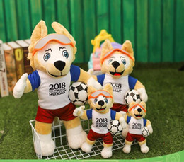 giocattoli all'ingrosso delle bambine Sconti 2018 bambola russa della mascotte della peluche Coyote Zabikaka Doll Soccer Souvenir Toy Toy