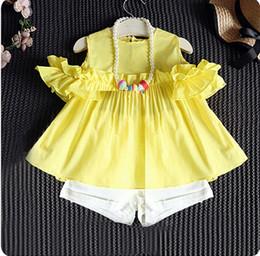 Футболка с длинным рукавом онлайн-девочка одежда комплект лето дети хлопок толстовки юбки+брюки 2шт/комплект дети девочки чистый цвет с плеча одежду