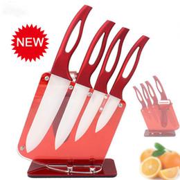 Argentina Beauty Gifts Zirconia mango rojo cuchillo de cerámica con soporte cocina Set 3