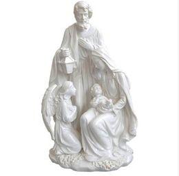 Statues de noël en Ligne-Cadeau de Noël Décoration de la maison Accessoires Sainte Famille Avec Ange Statue Jésus Figurine Nativité Figurines Décoratives 10,8 pouces