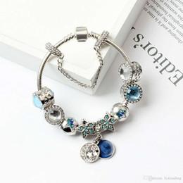2018 New Charm Bracelets Pandor Blue Cats Yeux Perles Bracelet Bracelets Argent 925 Bright Stars Moon Bangle Bijoux avec logo original ? partir de fabricateur
