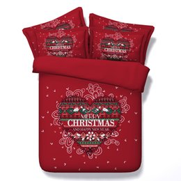 Wholesale 3d Doona Covers - 3D Print Red Heart Bedding Sets 3 4PC Merry Christmas Duvet Cover Twin Queen Super King Sizes Bedspreads Woven 500TC Doona Girls