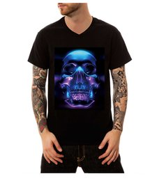 Wholesale Fluorescent T Shirts - 2018 Summer Mens Fashion 3D Personality Fluorescent Purple Skulls Printed V-Neck T-shirt Casual Cotton Short Sleeve Tops Basic Tees S-4XL