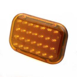 Minha iluminação on-line-Âmbar / amarelo carro led luz de emergência magnética luz de aviso de segurança de tráfego piscando com bateria recarregável embutida, 28-diodos, ma poderoso