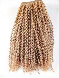 castanho escuro virgem brasileira feixes de cabelo Desconto Top Quality Brasileira Kinky Curly Virgem Humano Remy Cabelo Bundles Trama Do Cabelo Extensões de Cabelo Loiro Marrom Escuro