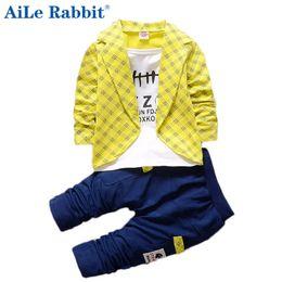 Wholesale Boy Clothings - AiLe Rabbit 2017 Toddler Baby Boy Formal Clothing Lattice Long Sleeve+ Casual Pants 2PCS Children's Infant Clothings Set