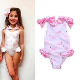 Wholesale hot girls swim suits - Hot Summer Baby Girls One-piece Swimsuit Swan Flamingo Printed Bow Sleeveless Swimwear Kids Children Swimming Suit W189