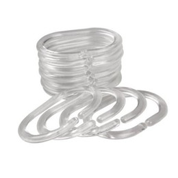 Plastica flessibile trasparente online-I ganci trasparenti flessibili della tenda della doccia hanno messo la forma del gancio C degli anelli di plastica