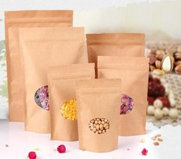 Wholesale Paper Packaging Products - Zip Lock Standing Kraft Paper Bags with Round Window  Yellow Kraft Package Storage Dried Food,Fruits,Tea,Electronic Product Pouches