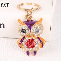 Wholesale crystal owl ring - 11 styles cute owl crystal key chains rings for women rhinestone wallet bag pendant for car key holder keyrings ketchains