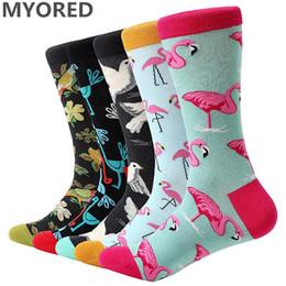 Wholesale funny wedding cartoons - Myored 5 Pair  Lot Men 'S Cartoon Socks Cotton Animal Bird Flower Colorful Long Socks Funny Sock For Men Casual Dress Wedding Gift