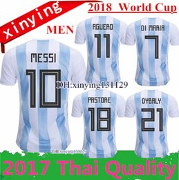 Wholesale Argentina Messi Jersey - 2018 World Cup Argentina Soccer Jerseys 17 18 10 MESSI DI MARIA AGUERO KOMPANY DYBALA Higuain Home Blue Away Adults Argentina football shirt