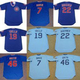 Wholesale Bill White Baseball - Men Youth 7 JODY DAVIS 19 MANNY TRILLO 22 BILL BUCKNER 46 LEE SMITH Chicago 1981 Away Baseball Jersey