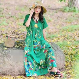 Las mujeres Retro Floral bordado de algodón vestido de lino de las señoras VintageV cuello nacional estilo flojo Boho vestido mexicano vestido robe desde fabricantes