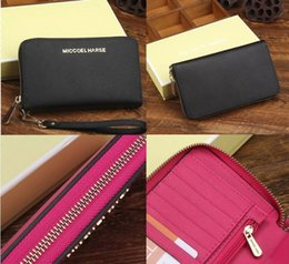 Wholesale Red Box Clutch - Top Quality America style Luxury Brand designer women lady classic textured Genuine leather wallet clutch purse with dust bag and box