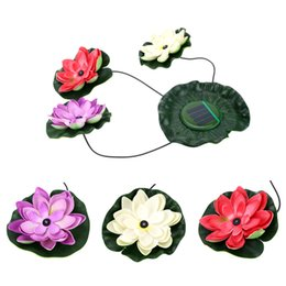 Wholesale Solar Plastic Flowers - Solar Powered Led Floating Lotus Light Night Flower Lamp For Pond Fountain Garden Pool Pond Fountain Decoration Decor Fake Plant
