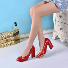 nude pearl shoes Promo Codes - Black Nude Red Women Thick Heeled Pumps Shoes 2018 Female Wedding Dress Spring Shoes Ladies Pearls Punk Shoes Party High Heeled Pumps
