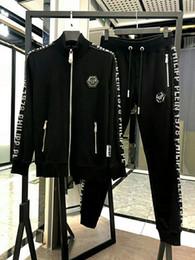 Conjunto de chándal de primavera de Phillip Plain impreso para hombre Conjunto 2018 Nuevo estilo de traje de ropa deportiva para hombre Pista Trajes de PP Conjuntos 2pcs Abrigo + Pantalones desde fabricantes