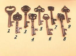 Wholesale Rustic Antique Decor - Mixed 9 Styles Antique Bronze Metal Skeleton Key Shaped Bottle Opener Rustic Wedding Decor Party Favor