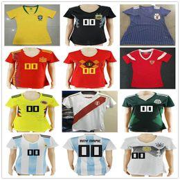 81da6bf14ca 2018 Women Soccer Jerseys Spain Russia Belgium Colombia Brasil Mexico  Argentina Japan Peru GerMaNy Ladies Customize Football Shirt