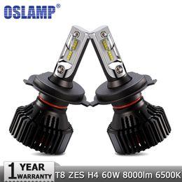 Wholesale audi led headlamp - Oslamp H4 Car LED Headlight Bulbs Hi lo Beam ZES 60W 8000LM 6500K Auto Headlamp Fog Light Bulb 12v 24v for HONDA KIA AUDI TOYOTA