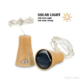 Wholesale Egg Shape Lamp - Waterpoof Solar Wine Bottle Cork Shaped String Light 10 LED Night Fairy Light Garden Solar Lamp Outdoor Holiday Party Chirstmas Wedding