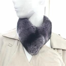 60 cm lilás / preto fashional das mulheres real coelho pele cachecóis inverno quente cachecol pescoço mais quente presente de
