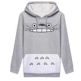 sudaderas totoro Rebajas Harajuku Mujeres Sudadera de Moda de Dibujos Animados Totoro Animal bts Imprimir Sudadera Con Capucha Primavera Otoño Fuera Pullove Gris Algodón Slim Plus Tamaño