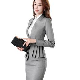 Wholesale Full Sleeve Woman - 2018 Elegant Ruffle Office Uniform Skirt Suit Autumn Full Sleeve Blazer Jacket+Skirt 2 Pieces Female Work Skirt Suits ow0380