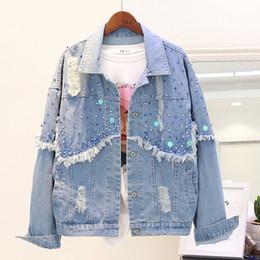 denim blue sequin jacket Desconto 2018 Novas Mulheres Outono Lantejoulas Buracos Denim Jaqueta Feminina de Manga Longa Mulheres Jeans Azul Casaco Outwear Casacos chamarras de mujer