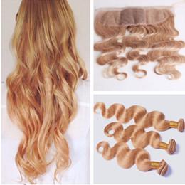 Peruvian Honey Blonde Trames de cheveux humains avec soie frontale Wave Body # 27 Blonde Silk Base Lace Frontale Fermeture 13x4 avec faisceaux d'armure ? partir de fabricateur