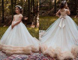 Wholesale Designer Style Long Sleeve Dresses - Charming Designer Ball Gown Flower Girls Dress 2018 Long Jewel Neck With Short Sleeves Ruffles Country Style Wedding Dress for Kids Girls