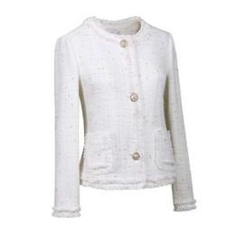 Chaqueta coreano lindo online-Mujeres Otoño Invierno Tweed Chaquetas Abrigos Corto de lana Vintage White Coat Mujeres Korean Streetwear más Slim Outwear lindo Talever
