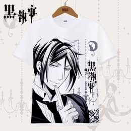 Wholesale Black Butler Sebastian Michaelis - Black Butler T-shirt Ciel Phantomhive Sebastian Michaelis Cosplay Printed Tees Tops Japanese Anime Costume T Shirt For Men Women