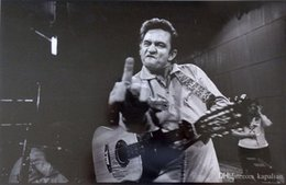 Wholesale high fashion music - Free Shipping Johnny Cash Middle Finger Guitar Music High Quality Art Posters Prints Home Decor Wall Paper 16 24 36 47 inches