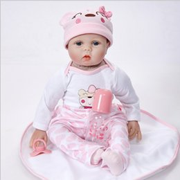 Wholesale Silicone Realistic Baby Dolls - Lifelike Princess Girl Reborn Doll 22 Inch Blue Brown Eyes Realistic Silicone Real Touch Newborn Babies Toy With Clothes Kids Birthday