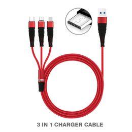 Câble de chargement en nylon en Ligne-Câble USB multifonction 3 en 1 Câble de recharge USB Nylon Braid Type C Câble Chargeur Adaptateur pour Smartphones avec sac OPP