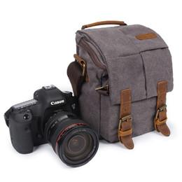 fuji fotocamera polaroid Sconti Foto Videocamera Impermeabile Canvas Shoulder Retro Vintage DSLR Borsa per il trasporto per Canon Nikon Sony SLR Photography