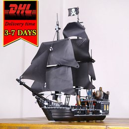 Wholesale Toys Pirate Caribbean - DHL LEPIN 16006 Black Pearl Pirates War ship Model Kit Building Blocks Compatible Brick Military Toy For Children Caribbean Boat