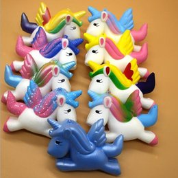 Wholesale Soft Stock - 11 Colors 11*8*3.5cm Squishy Unicorn Cute Pegasus Unicorn Soft Squishy Slow Rising Squeeze Squishies Novelty Items CCA9531 300pcs