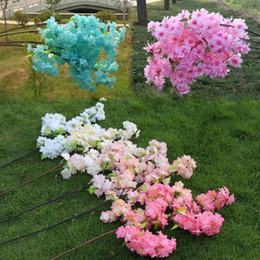 cherry blossom party decorations Promo Codes - 7 Colors Artificial Cherry Spring Plum Peach Blossom Branch Silk Flower 100 cm For Wedding Party Decoration