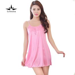 Leiouna Summer Dress Sleepwear Women Sexy Charming Ice Night Camisole Thin  And Silk Slippery Nightgown Satin Nightwear b46921fea