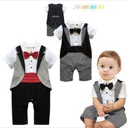 45b5fbf50da4 Baby Boy s Jumpsuit Romper Short Sleeve Toddler Newborn Gentleman Formal  Tuxedo Bow Tie Suit Outfit Kid Romper