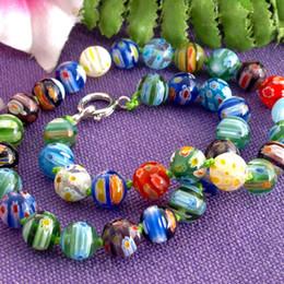 3 teile / los millefiori glas lampwork murano runde perlen halskette heiß von Fabrikanten