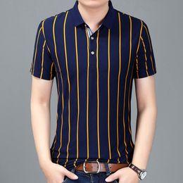 Ajuste clásico de polo online-New Business Classic Stripes Hombres Polo Camisa Slim Fit Manga corta Algodón Ropa de marca Moda Verano Hombres Polos Xxxl